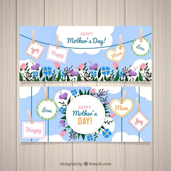 Set of mother's day banners with flowers and labels