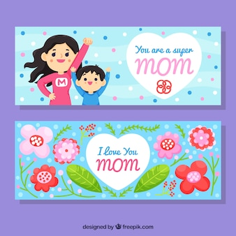 Set of mother's day banners with supermon