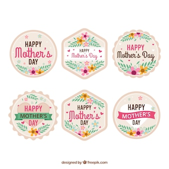 Set of mother's day labels in flat flowers