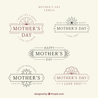 Set of mother's day labels in vintage style