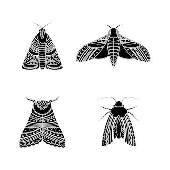 Набор мотыльков в стилях бохо. геометрическая племенная иллюстрация в простом стиле.
