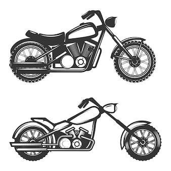 Набор иконок мотоциклов на белом фоне. элемент для логотипа, этикетки, эмблемы, знака, торговой марки.
