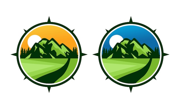 Набор дизайна значка горных приключений