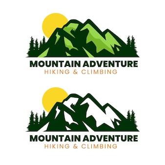 Набор дизайна логотипа горных приключений