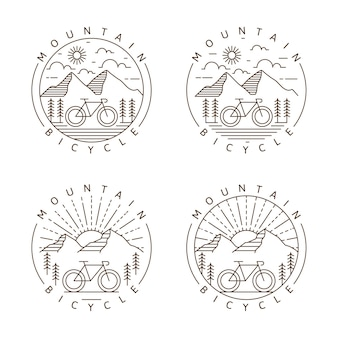 山と自転車のモノラインまたは線画スタイルのベクトル図のセット