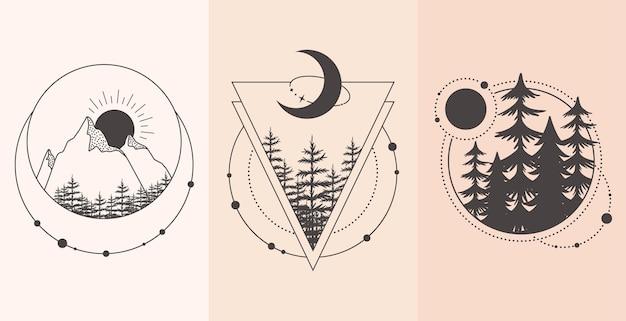 Набор горных и лесных пейзажей в стиле тату. иллюстрация