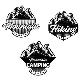 산악 자전거 및 캠핑 클럽 배지 세트입니다. 벡터