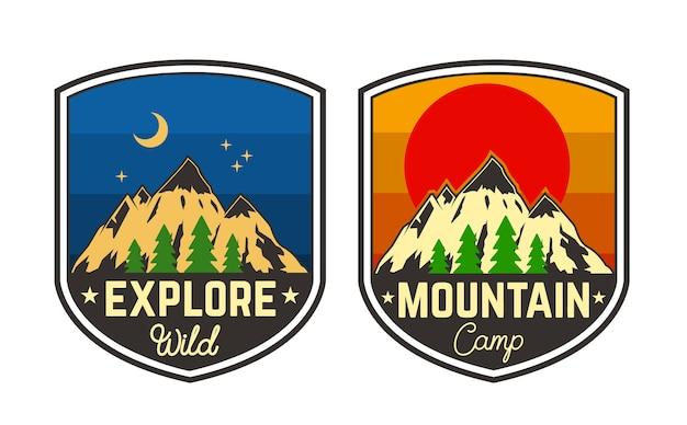 山のキャンプのエンブレムのセット。ロゴ、ラベル、サイン、ポスター、tシャツの要素。図
