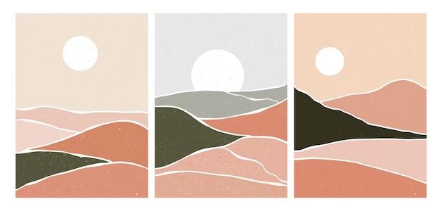 山のセット。ミッドセンチュリーモダンアートのクリエイティブなミニマリストの手描きイラスト。自然な抽象的な風景の背景