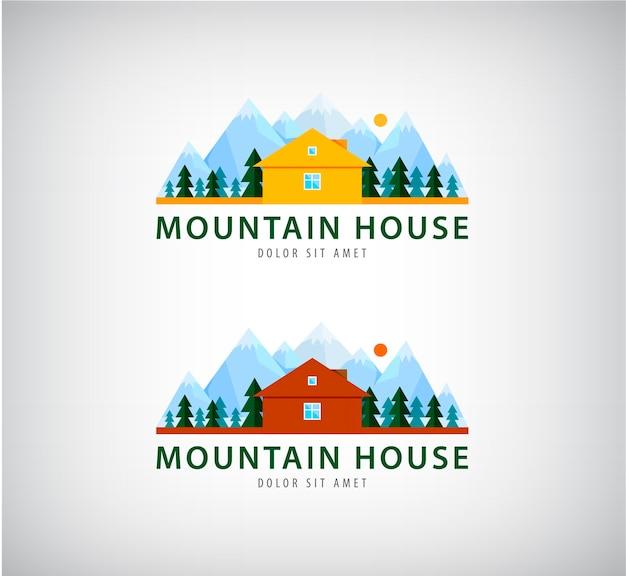 灰色で隔離の休日の山の家のセット