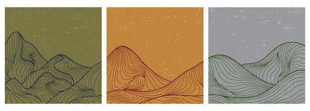 山の風景ポスター線画のセットです。ヴィンテージスタイルの幾何学的な風景の背景。ベクトルイラスト