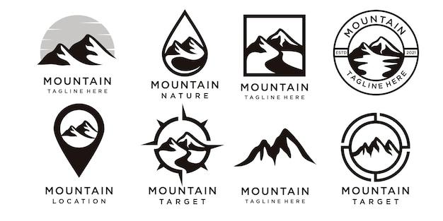 독특한 개념, 산, 개요와 산 로고 컬렉션의 집합 프리미엄 벡터