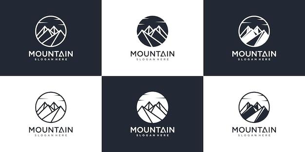 현대적인 라인 아트 스타일 프리미엄 벡터가 있는 산 로고 디자인 컬렉션 세트