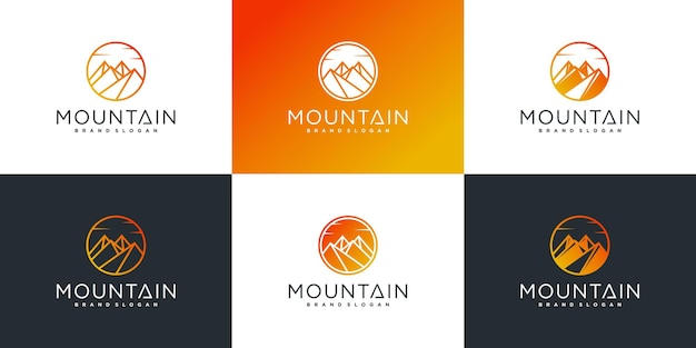 豪華なサークルスタイルのプレミアムベクトルと山のロゴデザインテンプレートのセット