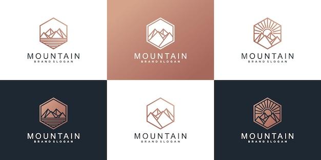 モダンなコンセプトのプレミアムベクトルと山のロゴデザインテンプレートのセット