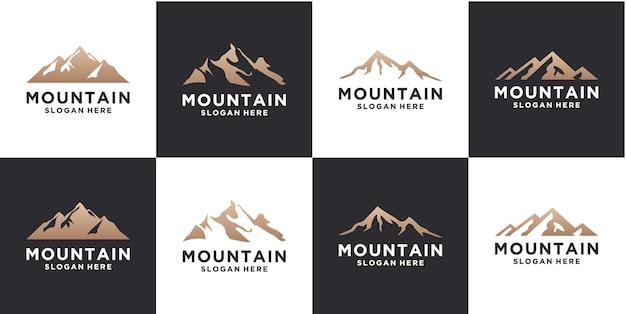 山のロゴデザインテンプレートのセット