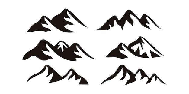 山のロゴのデザインテンプレートのセットです。プレミアムベクトル
