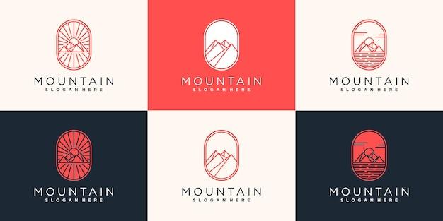 간단한 라인 아트 모양 개념 프리미엄 벡터와 산 로고 디자인 세트