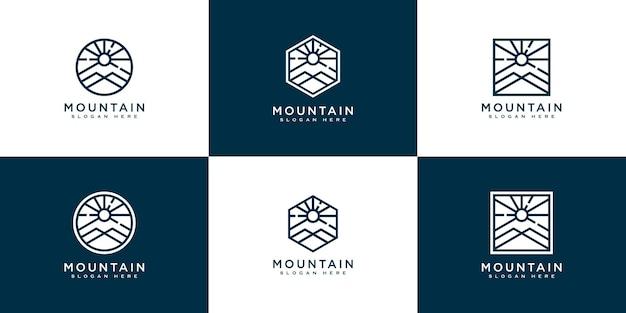 日光のロゴデザインと山のセット