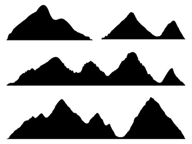 白い背景の上の山のシルエットのセット高地の山々と岩の多い風景の広い半詳細なパノラマシルエットベクトル図の山の孤立した行