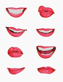 口の感情のアニメーションのセット。