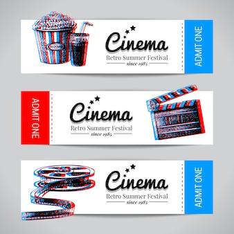 영화 배너 세트입니다. 손으로 그린 스케치 벡터 일러스트와 함께 영화 축제 티켓