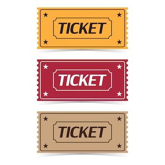 Набор билет в кино с тенями. плоский мультяшный стиль