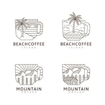 Набор кружка пляж остров гора кабина иллюстрация монолинии или линии арт стиль вектор дизайн