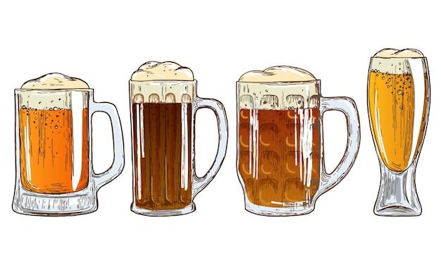 ビールのマグカップのセット。ビールイラストのカラフルなスケッチ。