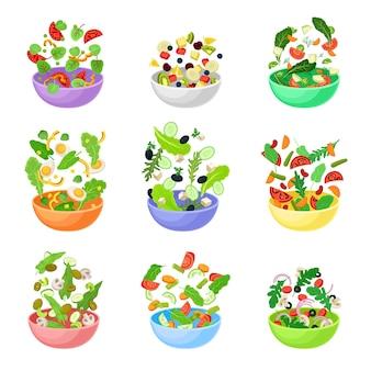 Набор разноцветных мисок с ломтиками овощей