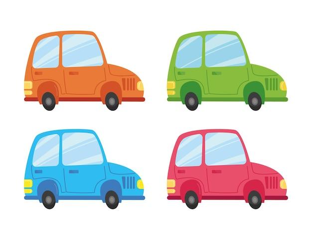 マルチカラー車のセットです。緑の車、青、ピンク、オレンジ。漫画の子供のスタイルでベクトルイラストを輸送します。白い背景の上の孤立した面白いクリップアート。かわいいプリントの楽しみ