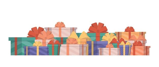평면 스타일의 여러 가지 빛깔의 선물 세트. 선물 상자. 새해, 생일 또는 발렌타인 데이를 주제로 한 디자인에 적합합니다. 외딴. 벡터.