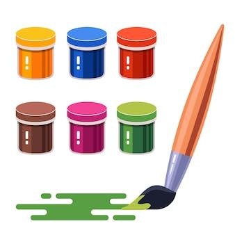 Набор разноцветных гуашевых красок. кисть на бумаге. плоский рисунок на белом фоне.