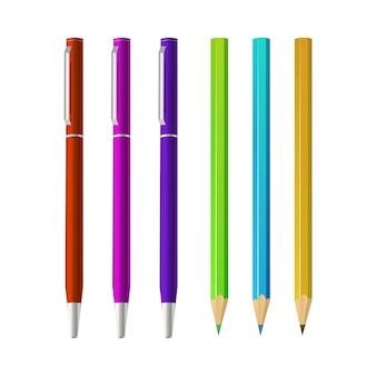 マルチカラーの鉛筆と白い背景の上のペンのセット。リアルなスタイル