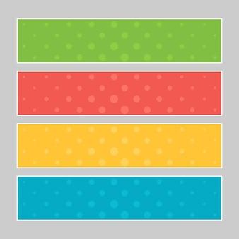 マルチカラーのポップアートバナーのセットです。デザインのためのあなたのテキストのための場所とハーフトーンコミックテンプレート。ベクトルイラスト