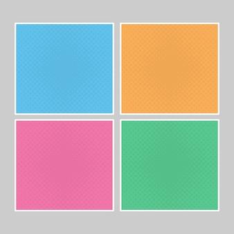 マルチカラーのポップアートバナーのセット。デザイン用のテキストを配置するハーフトーンコミックテンプレート。ベクトルイラスト