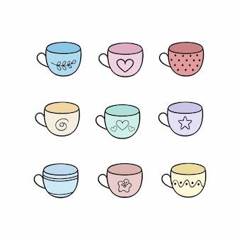 マルチカラーのティーマグのセット。キッチン、カフェ、レストラン用の落書きメガネのコレクション。皿とベクトル漫画落書きイラスト。