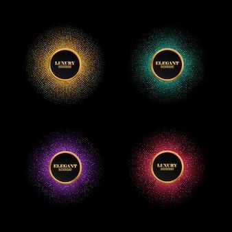 다양한 반짝임 축제 디스코 조명이 있는 여러 가지 빛깔의 추상 빛나는 모자이크 배경 벡터 라운드 프레임 세트