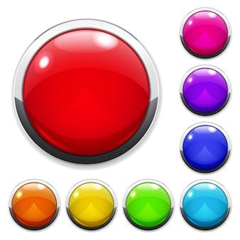 Набор разноцветных больших кнопок из стекла или пластика с металлической окантовкой