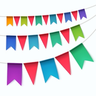 Набор разноцветных овсянок гирлянды флаги на белом фоне