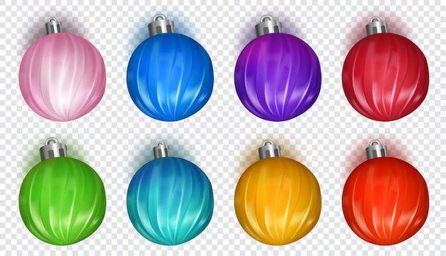 Набор разноцветных новогодних шаров с мягкими тенями, изолированные на прозрачном фоне
