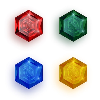 Набор разноцветных драгоценных камней.