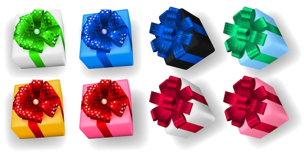 리본, 활, 그림자가 있는 여러 가지 빛깔의 선물 상자 세트