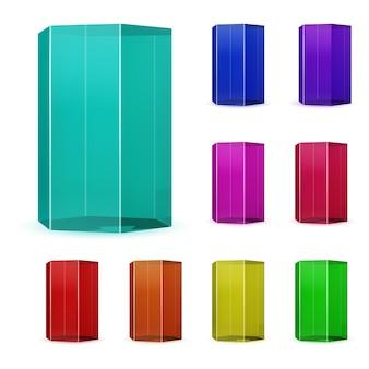 여러 가지 빛깔의 유리 프리즘 세트