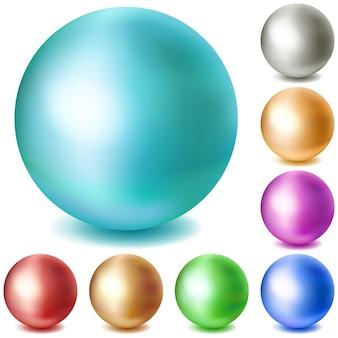 Набор разноцветных матовых сфер с тенями на белом фоне
