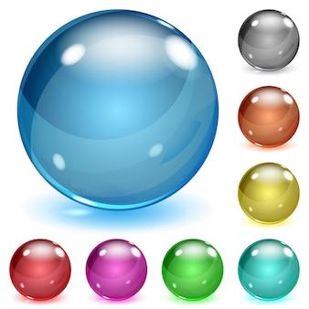 グレアと影のある色とりどりの不透明なガラス球のセット