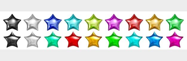 흰색 절연 별 모양에 여러 가지 빛깔 된 반짝 풍선 세트