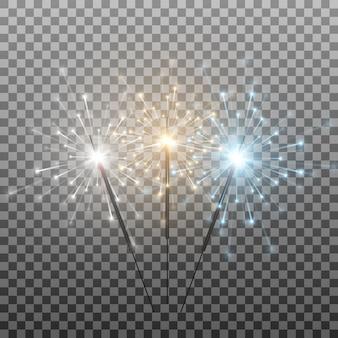 色とりどりの線香花火のセットベンガルライトが花火をスパークします訴訟の燃えるライトをフラッシュします