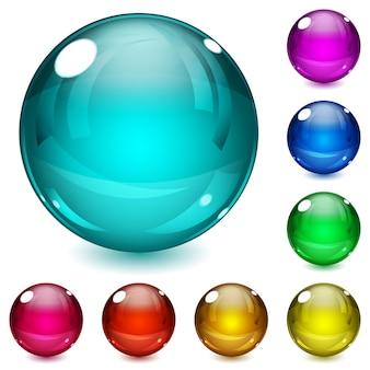 Набор разноцветных сфер с тенями