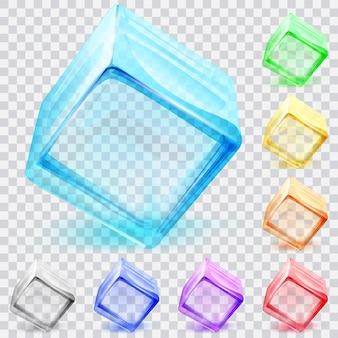 여러 가지 빛깔의 투명 유리 큐브 세트